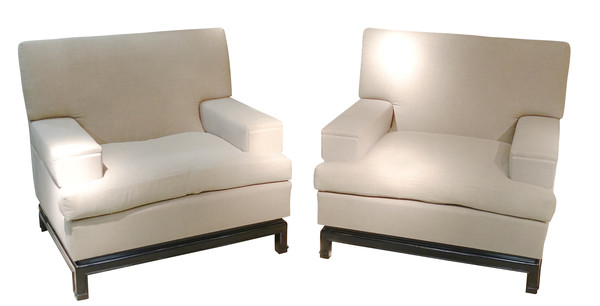 1960's French Wide Arm Pair Upholstered Club Chairs