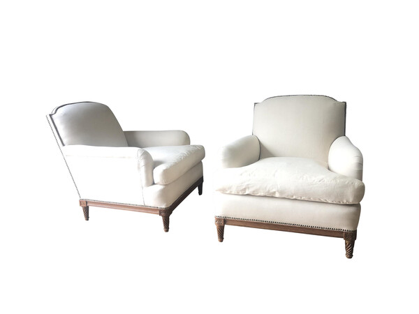 Mid Century French Pair Maison Jansen Club Chairs