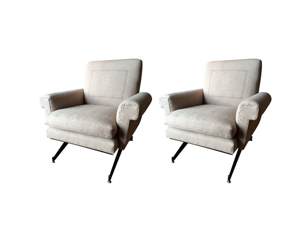 Mid Century Italian Pair Club Chairs