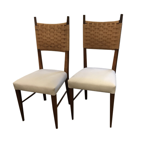 Mid Century Italian Pair Ladder Back Chairs