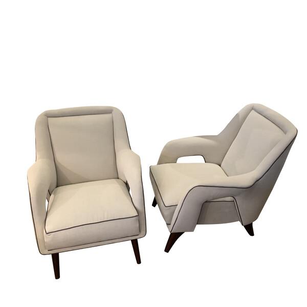 Mid Century Italian Pair Side Chairs