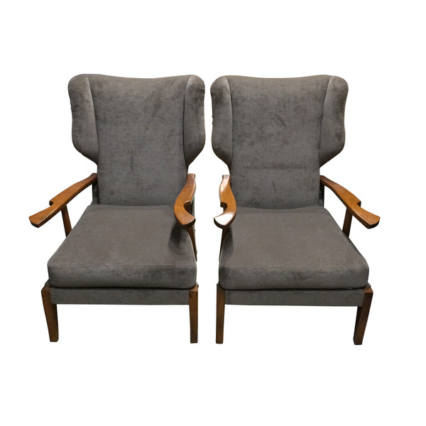 Mid Century Italian Pair of High Back Upholstered Wing Chairs