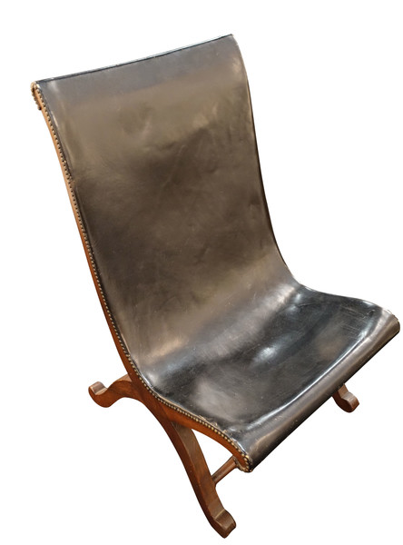 Mid Century Spanish Valenti  Leather Side Chair