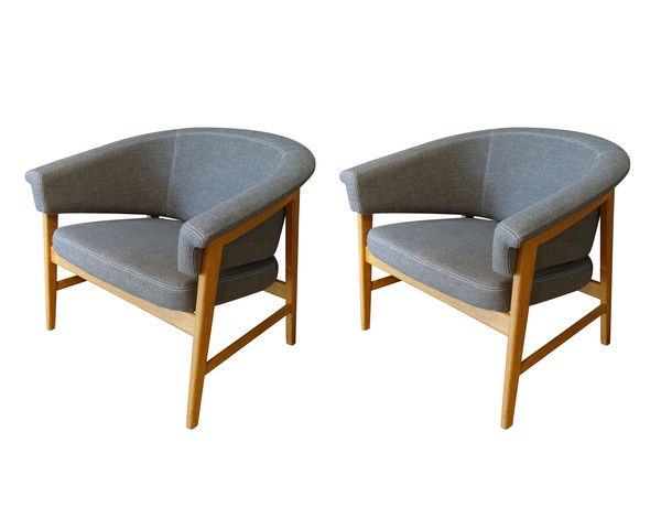 Mid Century Swedish Pair Side Chairs