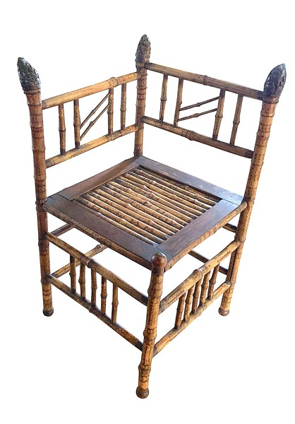 1940's French Corner Bamboo Chair