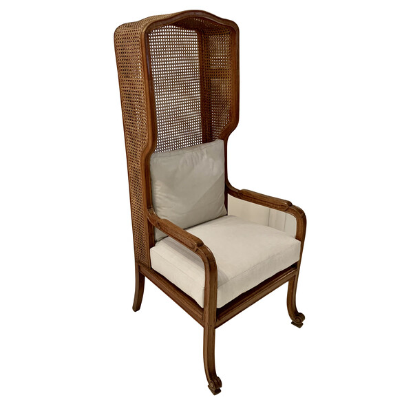 1920's French High Back Cane Wing Chair