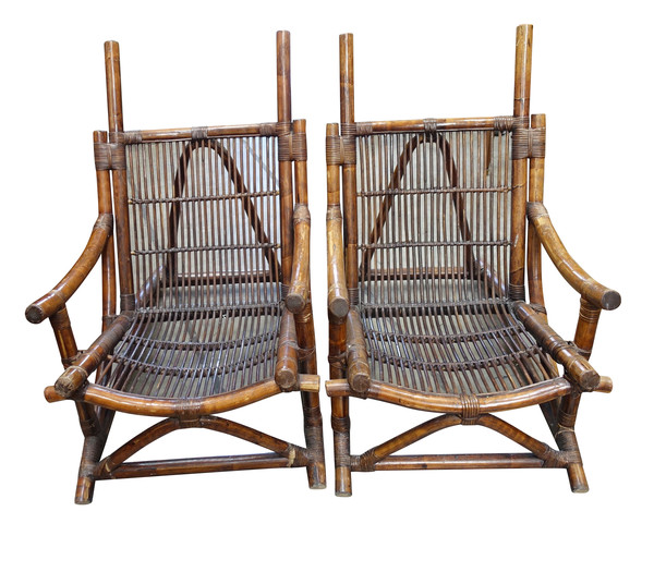 1940's French Pair Bamboo Chairs