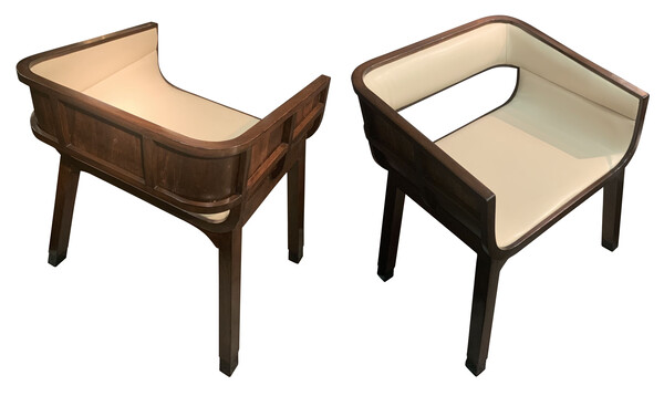 1940's French Pair Curved Back SIde Chairs