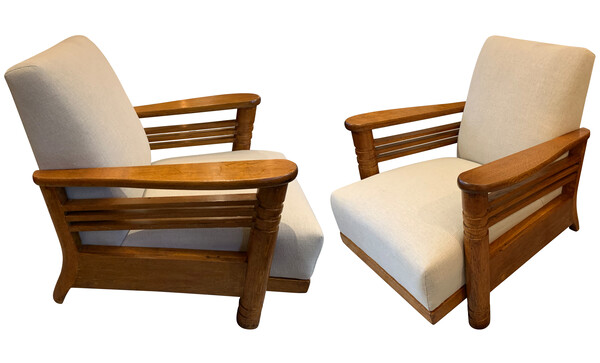 1930's French Pair Jean Charles Dudouyt Club Chairs