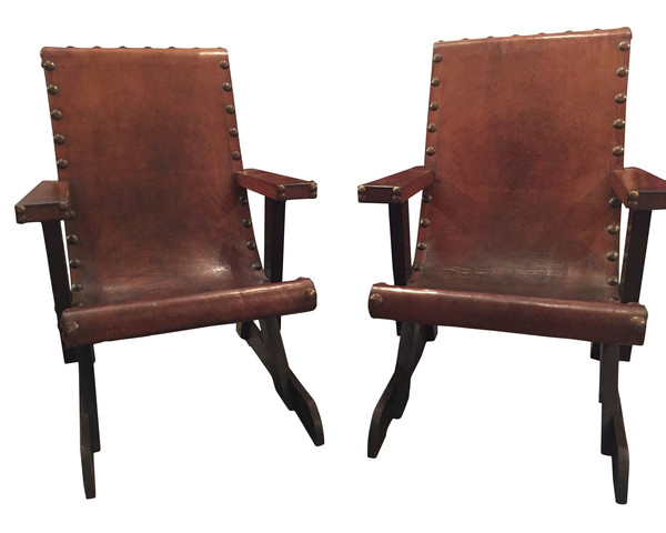1950's French Pair Leather Chairs