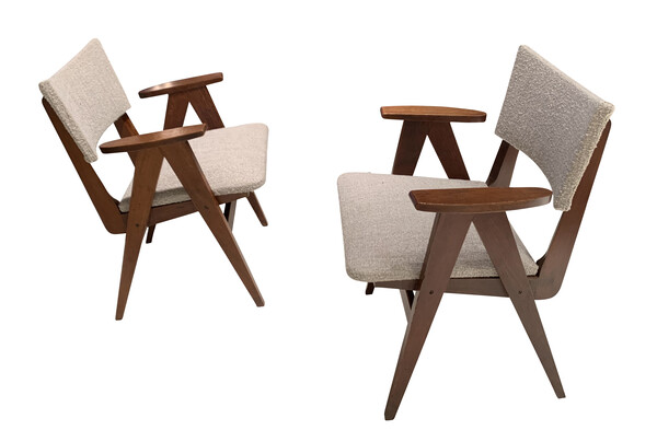 1950's French Pair Scissor Arm Chairs