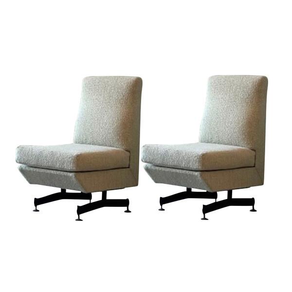 1960's Italian Pair Armless Side Chairs