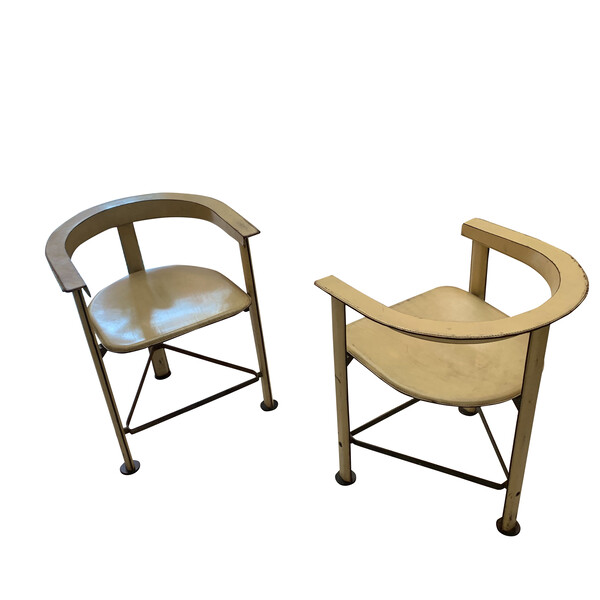 1970's Moroccan Pair Leather Side Chairs