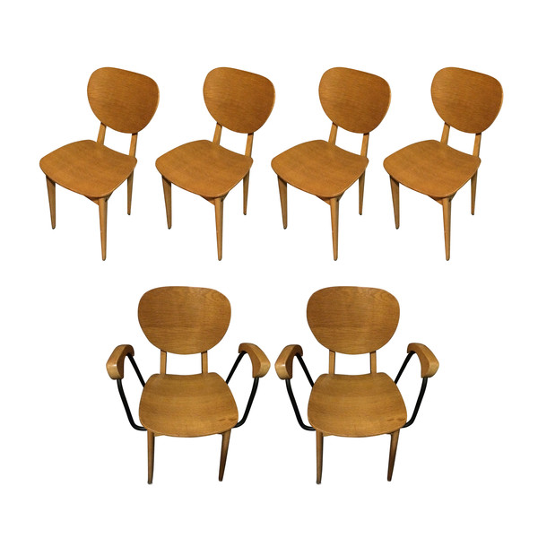 French 1970's Set of Six Dining Chairs