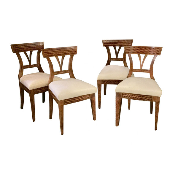 19th Century Marquetry Set of Four Upholstered Seat Dining Chairs, Austria