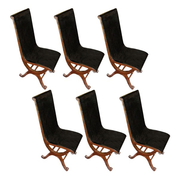 1940's Valenti Set of Six Black Leather Dining Chairs