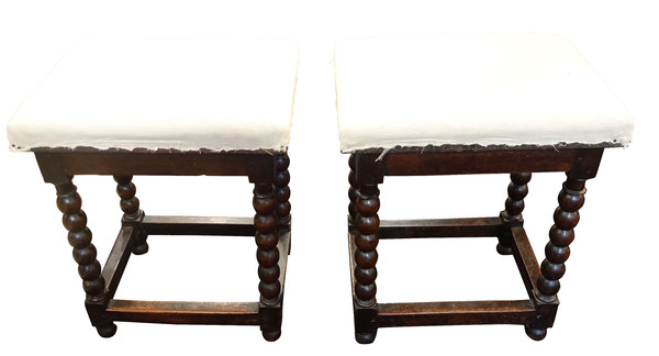 17thc English Pair Spool Leg Upholstered Stools