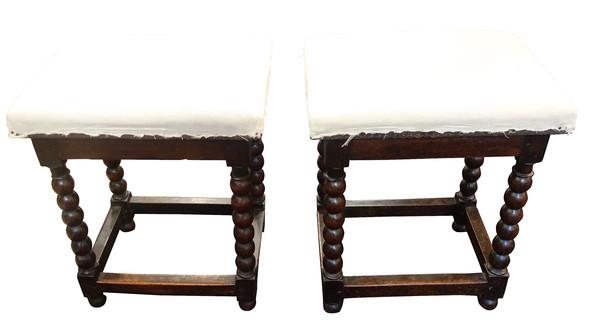 17thc English Pair Spool Leg Upholstered Stools