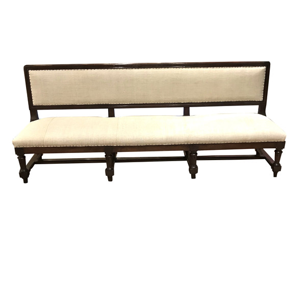 1860c Italian Long Upholstered Bench with Back