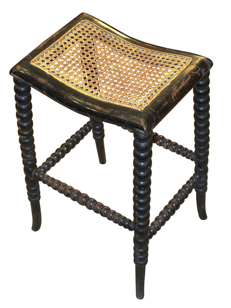 19thc English Ebonized Spool Leg Bench