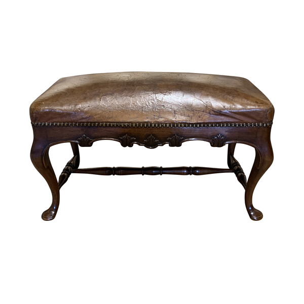 19thc English Leather Top Bench
