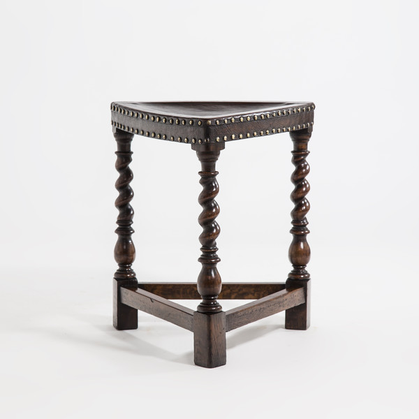 19thc English Triangle Shape Leather Stool