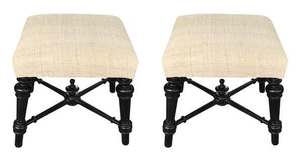 19thc French Napoleon III Pair of Foot Stools