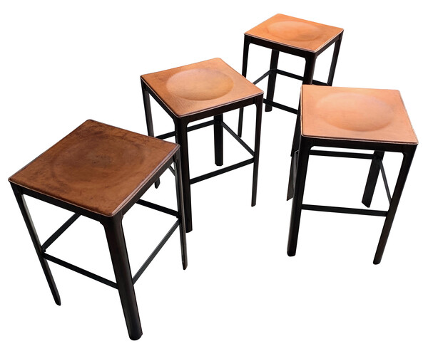 Mid Century French Set of Four Leather Bar Stools