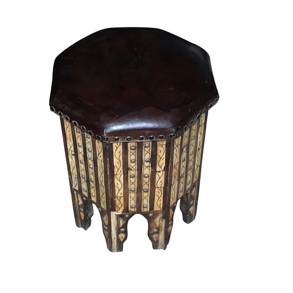 Mid Century Moroccan Octagonal Shaped Leather Top Stool