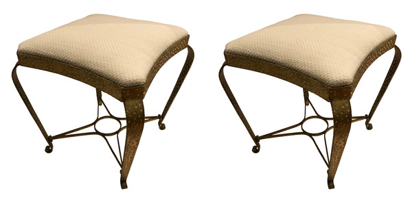 1940's French Pair Hammered Gold Gilt Metal Foot Stools