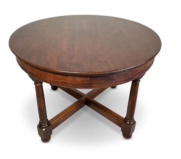 19thc English Round Mahogany Center Hall Table