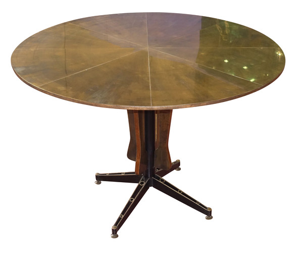 Mid Century Italian Brass Top Center Hall Table