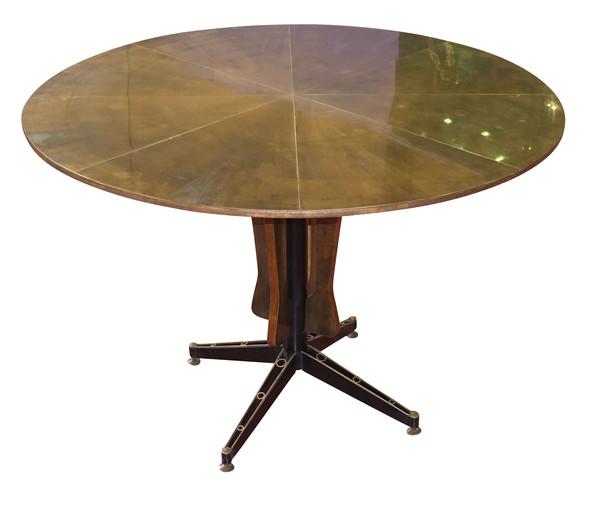 Mid Century Italian Brass Top Center Hall Table