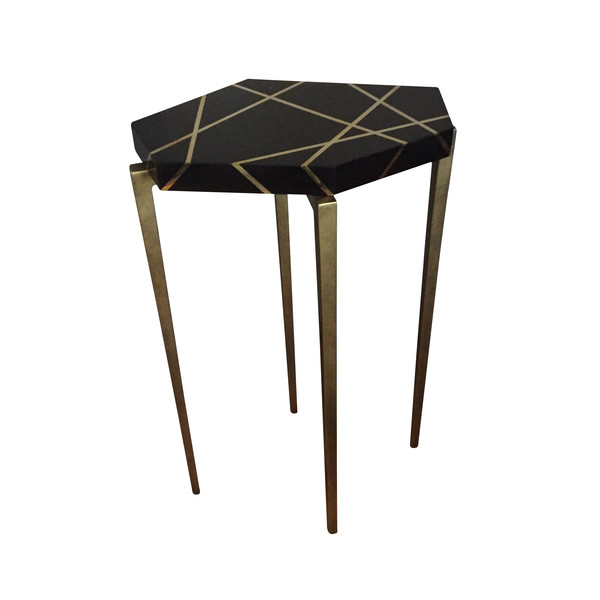 Contemporary Bronze Inlay Cocktail Table