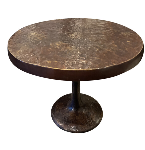 Contemporary German Hammered Bronze SIde Table