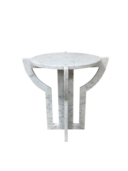 Contemporary Italian White Carrara Marble Cocktail Table