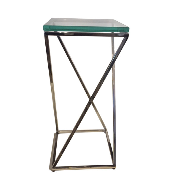 Contemporary Polished Nickel Base Glass Top Cocktail Table