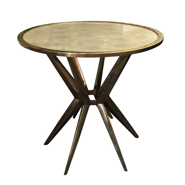 Contemporary Faux Shagreen Top Spider Cocktail Table