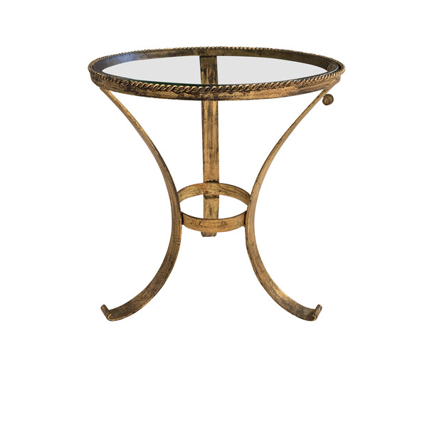 Mid Century Spanish Glass Top Gold Gilt Base Cocktail Table