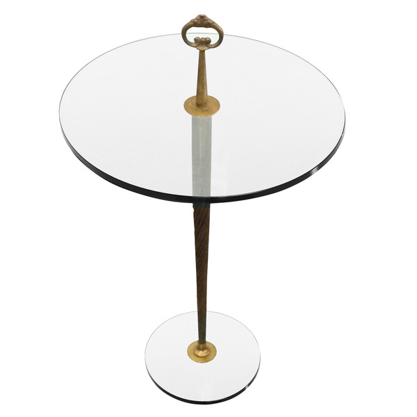 1940's French Round Glass Top Cocktail Table