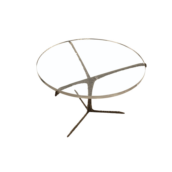 Contemporary Portuquese Round Lucite Top Coffee Table