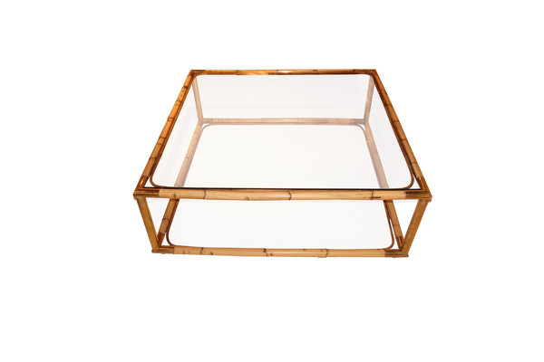Mid Century French Bamboo and Glass Coffee Table
