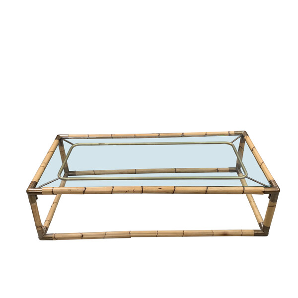 Mid Century French Bamboo Framed Coffee Table