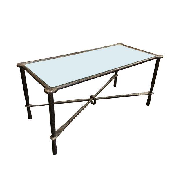 Mid Century French Hammered Iron Coffee Table