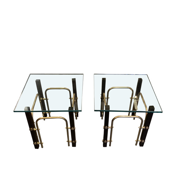 Mid Century French Pair Black and Brass Glass Top Side Tables
