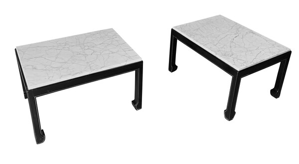 Mid Century French Pair Marble Top Coffee Tables