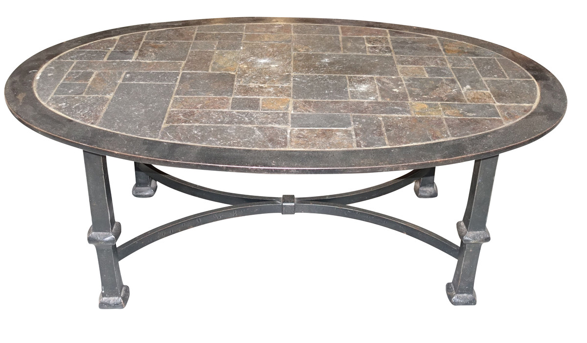 Balsamo Antiques Mid Century French Stone Top Steel Base
