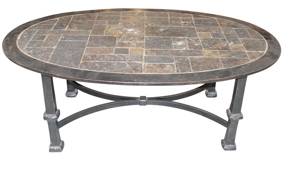 Balsamo antiques mid century french stone top steel base for Metal coffee table with stone top