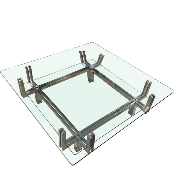 Mid Century Italian Two Tier Glass Top Coffee Table