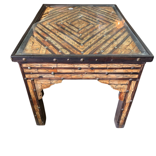 Mid Century Moroccan Rectangular Shaped Inlaid Bone Coffee Table
